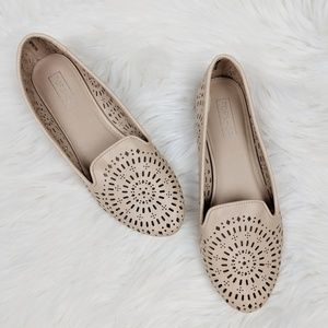 Topshop Misty Cream Perforated Flats